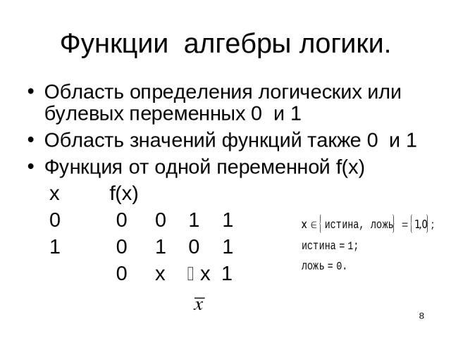 * Функции алгебры логики. Область определения логических или булевых переменных 0 и 1 Область значений функций также 0 и 1 Функция от одной переменной f(x) x f(x) 0 0 0 1 1 1 0 1 0 1 0 x x 1