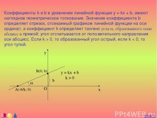 Коэффициенты k и b в уравнении линейной функции y = kx + b, имеют наглядное геом