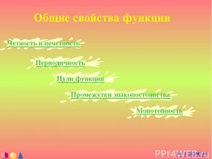 Общие свойства функции Четность и нечетность на главную Периодичность Нули функц