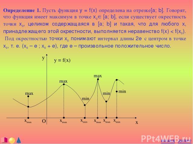 Определение 1. Пусть функция y = f(x) определена на отрезке[a; b]. Говорят, что функция имеет максимум в точке x0Î [a; b], если существует окрестность точки x0, целиком содержащаяся в [a; b] и такая, что для любого x, принадлежащего этой окрестности…