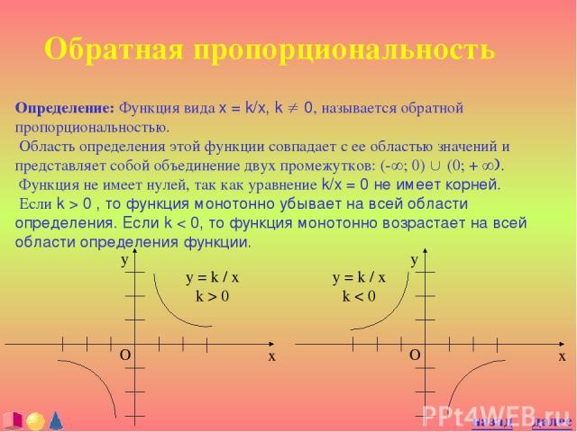 Обратная пропорциональность Определение: Функция вида x = k/x, k ¹ 0, называется обратной пропорциональностью. Область определения этой функции совпадает с ее областью значений и представляет собой объединение двух промежутков: (-¥; 0) È (0; + ¥). Ф…