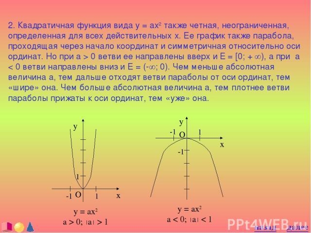 2. Квадратичная функция вида y = ax2 также четная, неограниченная, определенная для всех действительных x. Ее график также парабола, проходящая через начало координат и симметричная относительно оси ординат. Но при a > 0 ветви ее направлены вверх и …