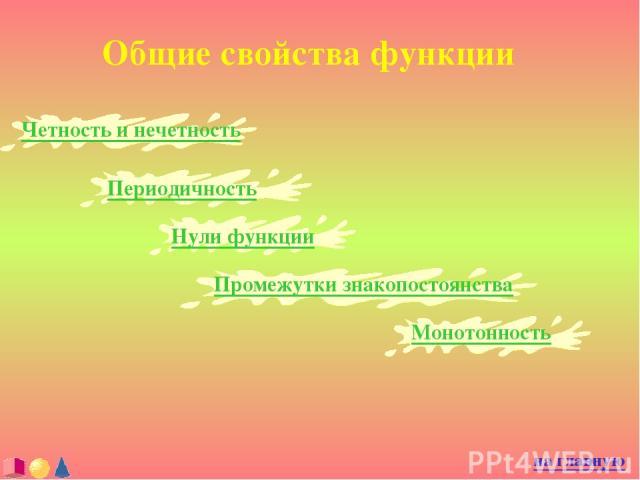 Общие свойства функции Четность и нечетность на главную Периодичность Нули функции Промежутки знакопостоянства Монотонность