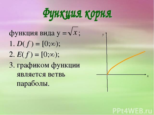 функция вида y = ; 1. D( f ) = [0;∞); 2. E( f ) = [0;∞); 3. графиком функции является ветвь параболы.