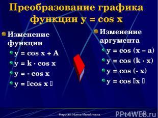 Наумова Ирина Михайловна * Преобразование графика функции y = cos x Изменение фу
