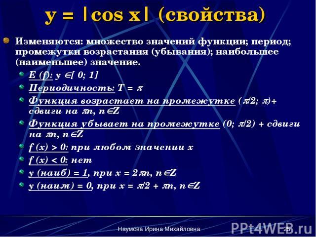 Наумова Ирина Михайловна * y = |cos x| (свойства) Изменяются: множество значений функции; период; промежутки возрастания (убывания); наибольшее (наименьшее) значение. E (f): y [ 0; 1] Периодичность: Т = Функция возрастает на промежутке ( /2; )+ сдви…