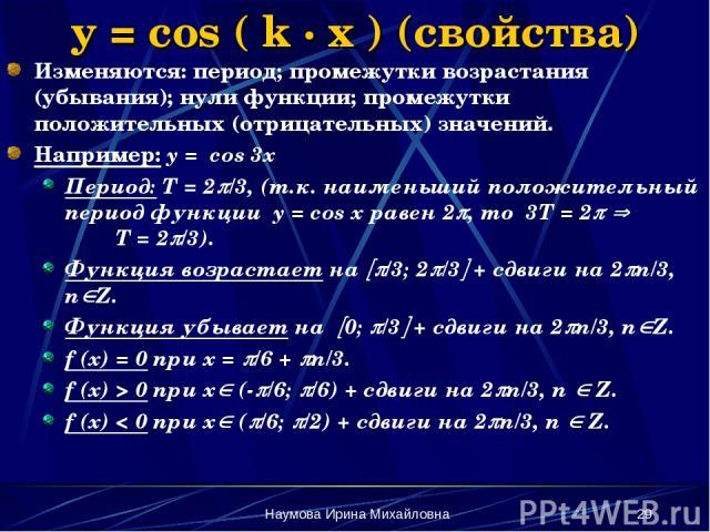 Наумова Ирина Михайловна * y = cos ( k · x ) (свойства) Изменяются: период; промежутки возрастания (убывания); нули функции; промежутки положительных (отрицательных) значений. Например: y = cos 3x Период: Т = 2 /3, (т.к. наименьший положительный пер…