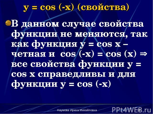Наумова Ирина Михайловна * y = cos (-x) (свойства) В данном случае свойства функции не меняются, так как функция y = cos x – четная и cos (-x) = cos (x) все свойства функции y = cos x справедливы и для функции y = cos (-x) Наумова Ирина Михайловна