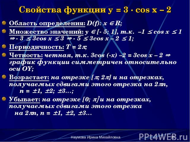 Наумова Ирина Михайловна * Свойства функции y = 3 · cos x – 2 Область определения: D(f): х R; Множество значений: y [- 5; 1], т.к. –1 cos x 1 - 3 3cos x 3 - 5 3cos x – 2 1; Периодичность: Т = 2 ; Четность: четная, т.к. 3сos (-x) –2 = 3cos x – 2 граф…