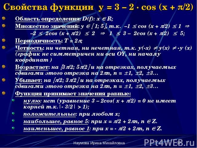 Наумова Ирина Михайловна * Свойства функции y = 3 – 2 · cos (x + /2) Область определения: D(f): x R; Множество значений: y 1; 5 , т.к. –1 cos (x + /2) 1 –2 2cos (x + /2) 2 1 3 – 2cos (x + /2) 5; Периодичность: Т = 2 ; Четность: ни четная, ни нечетна…