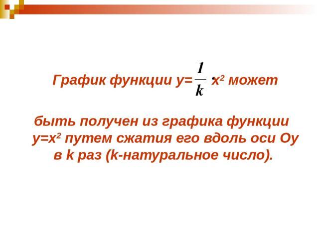 График функции у= x2 может быть получен из графика функции у=x2 путем сжатия его вдоль оси Оу в k раз (k-натуральное число).