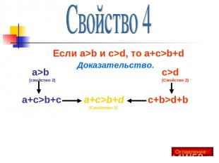 Если a>b и c>d, то a+c>b+d Доказательство. a>b (свойство 2) c>d (Свойство 2) a+c