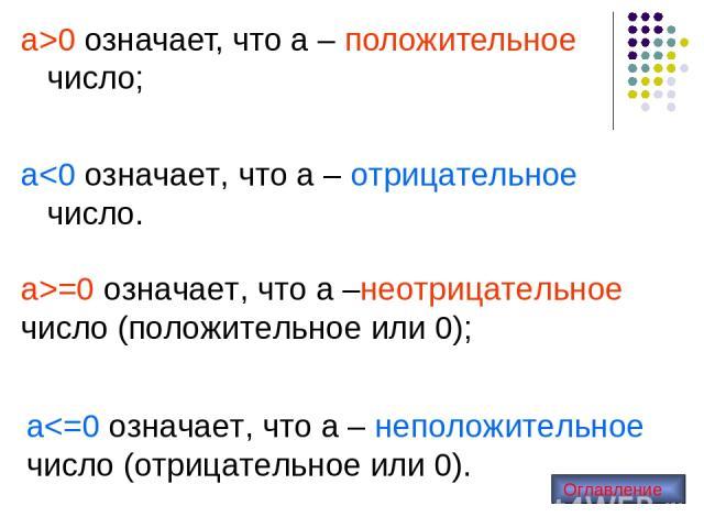 а>0 означает, что а – положительное число; а>=0 означает, что а –неотрицательное число (положительное или 0); а