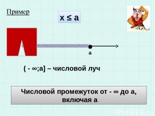 х ≤ а а ( - ∞;а] – числовой луч Числовой промежуток от - ∞ до а, включая а Приме