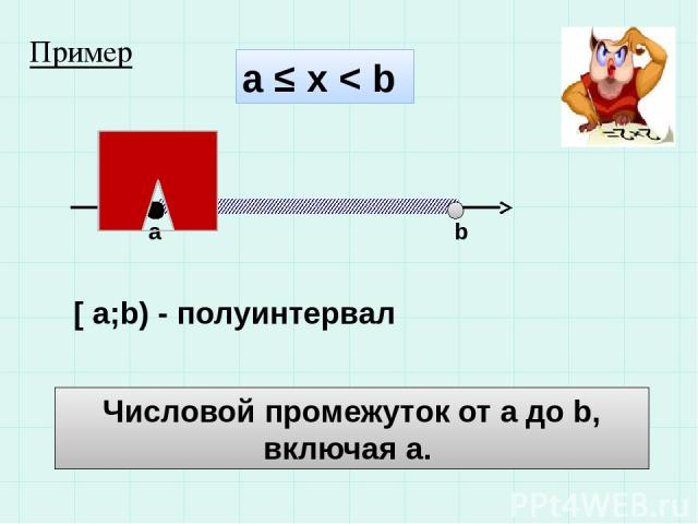 а ≤ х < b a b [ a;b) - полуинтервал Числовой промежуток от а до b, включая а. Пример