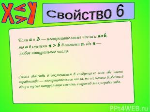 Если а и Ь — неотрицательные числа и а>b, то а в степени n > b в степени n, где