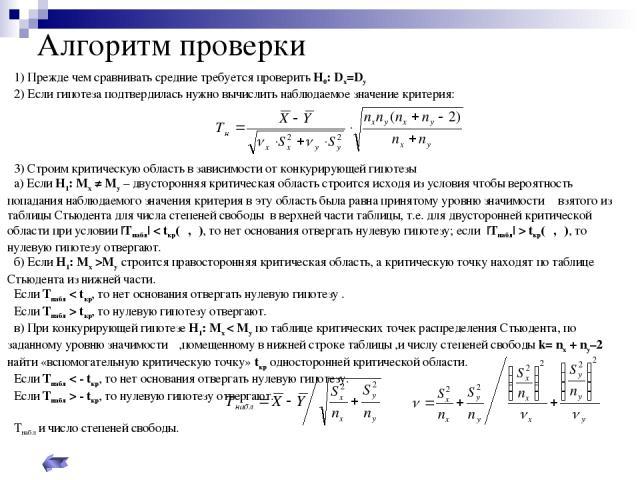 Алгоритм проверки 1) Прежде чем сравнивать средние требуется проверить Н0: Dх=Dу 2) Если гипотеза подтвердилась нужно вычислить наблюдаемое значение критерия: 3) Строим критическую область в зависимости от конкурирующей гипотезы а) Если Н1: Мх ≠ Му …