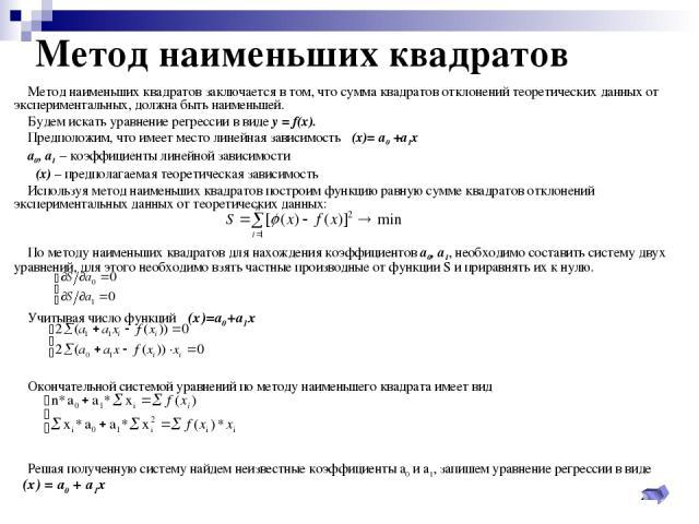 Метод наименьших квадратов Метод наименьших квадратов заключается в том, что сумма квадратов отклонений теоретических данных от экспериментальных, должна быть наименьшей. Будем искать уравнение регрессии в виде у = f(x). Предположим, что имеет место…