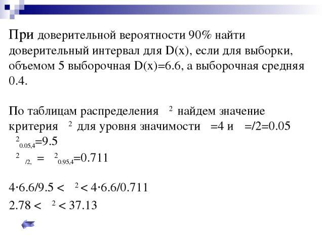 При доверительной вероятности 90% найти доверительный интервал для D(x), если для выборки, объемом 5 выборочная D(x)=6.6, а выборочная средняя 0.4. По таблицам распределения χ2 найдем значение критерия χ2 для уровня значимости υ=4 и α=/2=0.05 χ20.05…