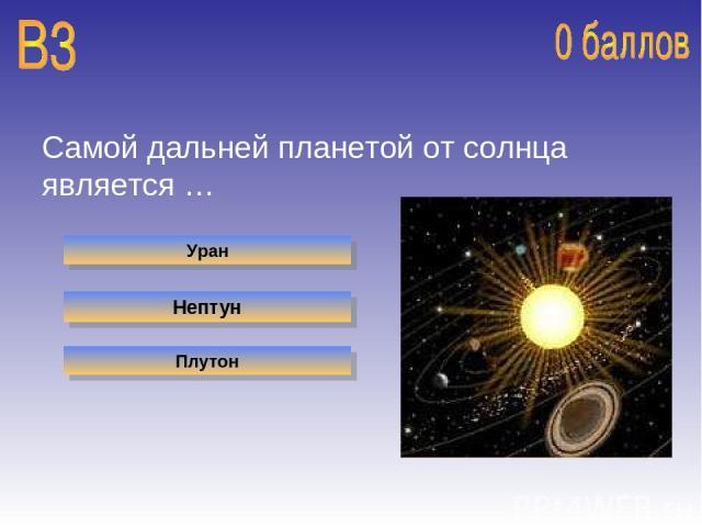 Самой дальней планетой от солнца является … Уран Нептун Плутон