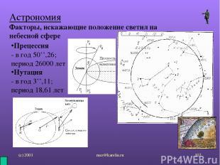 (с) 2001 mez@karelia.ru * Астрономия Факторы, искажающие положение светил на неб