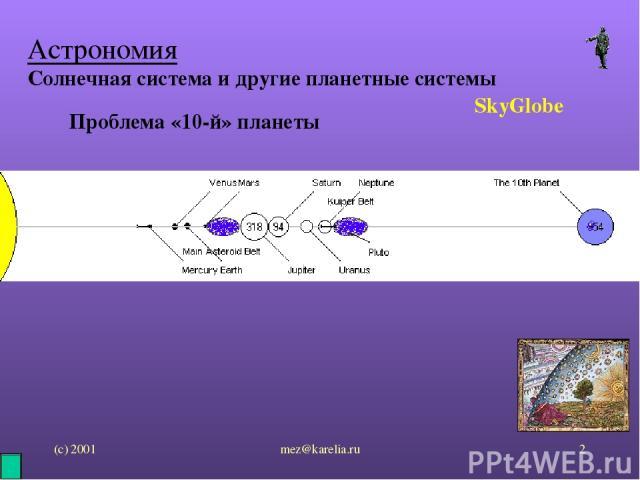 (с) 2001 mez@karelia.ru * Астрономия Солнечная система и другие планетные системы SkyGlobe Проблема «10-й» планеты mez@karelia.ru