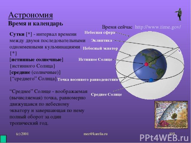 """(с) 2001 mez@karelia.ru * Астрономия Время и календарь Время сейчас http://www.time.gov/ Сутки [*] - интервал времени между двумя последовательными одноименными кульминациями {*} [истинные солнечные] {истинного Солнца} [средние (солнечные)] {""""средне…"""