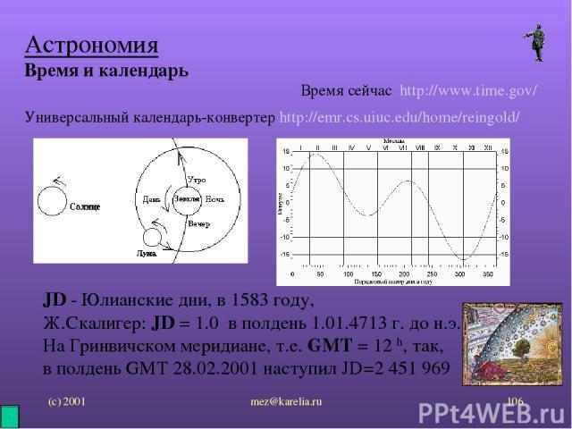 (с) 2001 mez@karelia.ru * Астрономия Время и календарь Универсальный календарь-конвертер http://emr.cs.uiuc.edu/home/reingold/ Время сейчас http://www.time.gov/ JD - Юлианские дни, в 1583 году, Ж.Скалигер: JD = 1.0 в полдень 1.01.4713 г. до н.э. На …