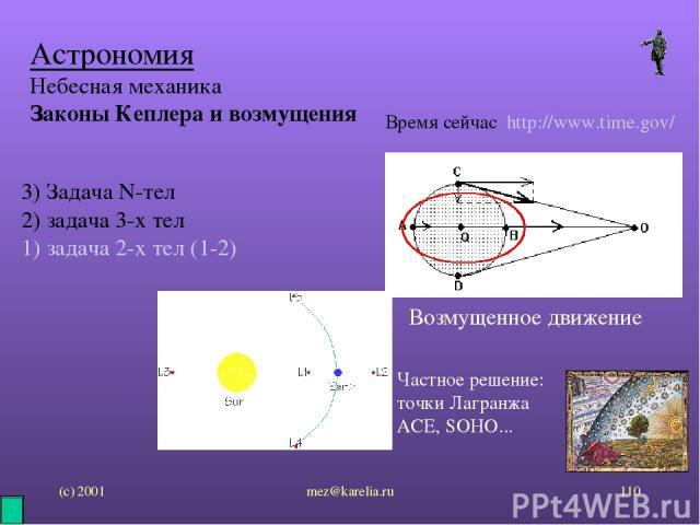 (с) 2001 mez@karelia.ru * Астрономия Небесная механика Законы Кеплера и возмущения Время сейчас http://www.time.gov/ 3) Задача N-тел 2) задача 3-х тел 1) задача 2-х тел (1-2) Возмущенное движение Частное решение: точки Лагранжа ACE, SOHO... mez@karelia.ru