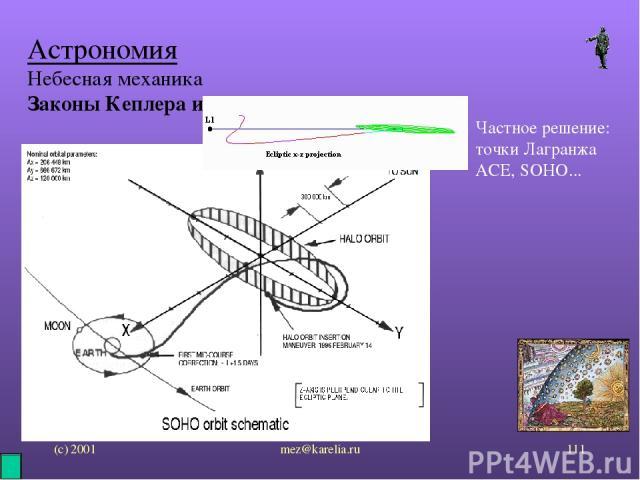 (с) 2001 mez@karelia.ru * Астрономия Небесная механика Законы Кеплера и возмущения Частное решение: точки Лагранжа ACE, SOHO... mez@karelia.ru