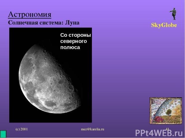 (с) 2001 mez@karelia.ru * Астрономия Солнечная система: Луна SkyGlobe Со стороны северного полюса mez@karelia.ru