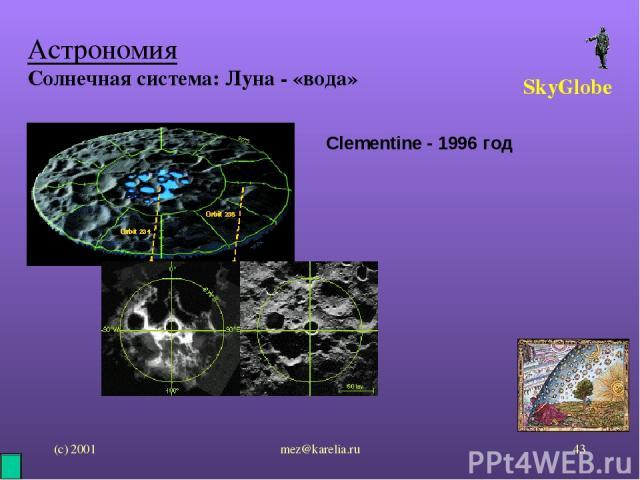 (с) 2001 mez@karelia.ru * Астрономия Солнечная система: Луна - «вода» SkyGlobe Clementine - 1996 год mez@karelia.ru
