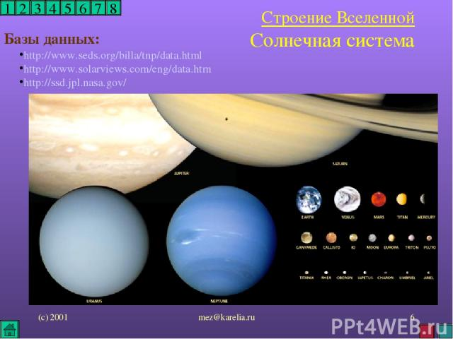 (с) 2001 mez@karelia.ru * 1 2 3 4 5 6 7 8 Строение Вселенной Солнечная система http://www.seds.org/billa/tnp/data.html http://www.solarviews.com/eng/data.htm http://ssd.jpl.nasa.gov/ Базы данных: mez@karelia.ru