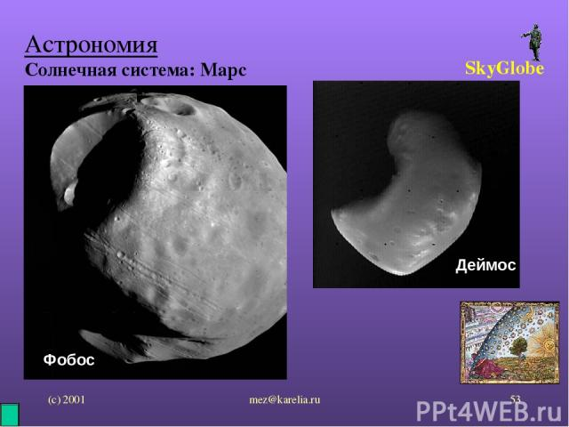 (с) 2001 mez@karelia.ru * Астрономия Солнечная система: Марс SkyGlobe Фобос Деймос mez@karelia.ru