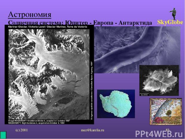 (с) 2001 mez@karelia.ru * Астрономия Солнечная система: Юпитер - Европа - Антарктида SkyGlobe mez@karelia.ru