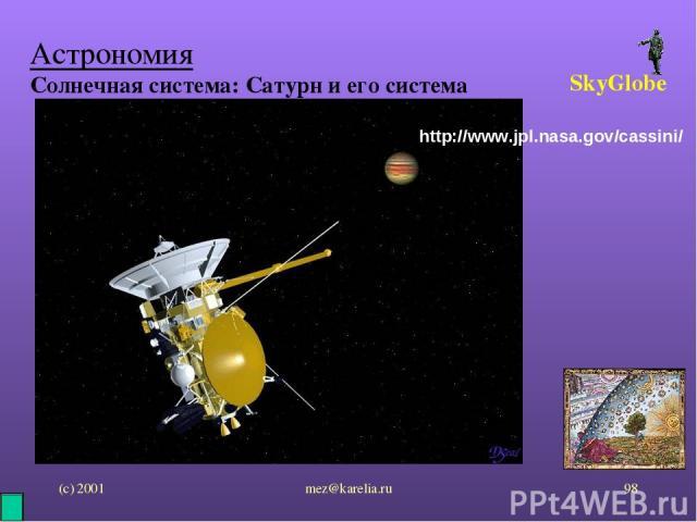(с) 2001 mez@karelia.ru * Астрономия Солнечная система: Сатурн и его система SkyGlobe http://www.jpl.nasa.gov/cassini/ mez@karelia.ru
