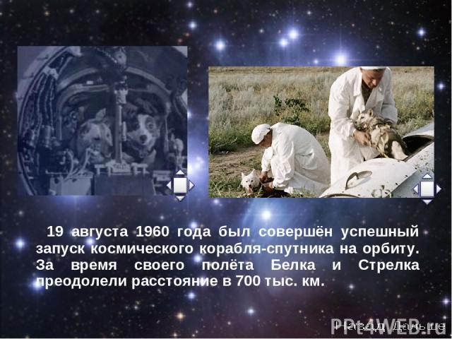 19 августа 1960 года был совершён успешный запуск космического корабля-спутника на орбиту. За время своего полёта Белка и Стрелка преодолели расстояние в 700 тыс. км.