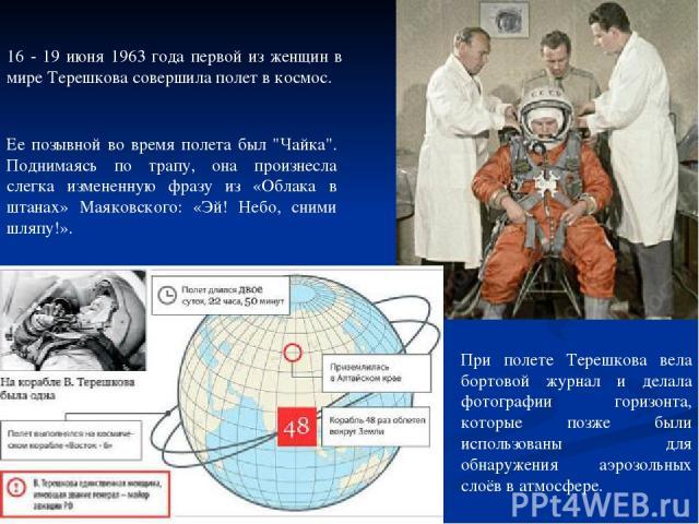 16 - 19 июня 1963 года первой из женщин в мире Терешкова совершила полет в космос. Ее позывной во время полета был