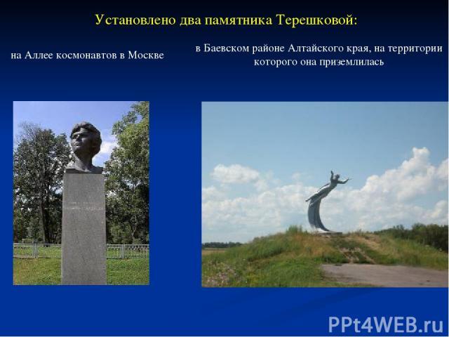 Установлено два памятника Терешковой: на Аллее космонавтов в Москве в Баевском районе Алтайского края, на территории которого она приземлилась