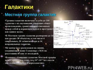 Галактики Местная группа галактик Группы галактик включают в себя до 100 галакти