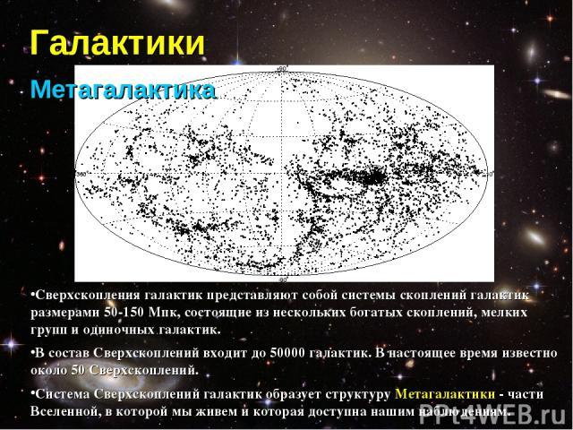 Галактики Метагалактика Сверхскопления галактик представляют собой системы скоплений галактик размерами 50-150 Мпк, состоящие из нескольких богатых скоплений, мелких групп и одиночных галактик. В состав Сверхскоплений входит до 50000 галактик. В нас…