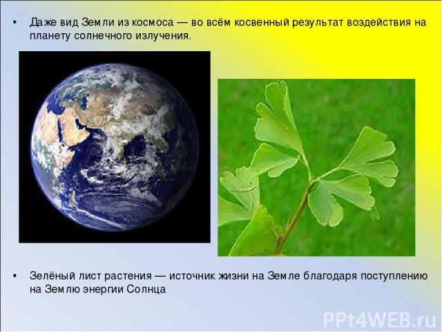 Даже вид Земли из космоса — во всём косвенный результат воздействия на планету солнечного излучения. Зелёный лист растения — источник жизни на Земле благодаря поступлению на Землю энергии Солнца