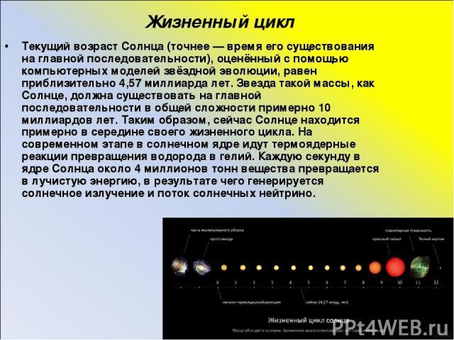 Жизненный цикл Текущий возраст Солнца (точнее — время его существования на главной последовательности), оценённый с помощью компьютерных моделей звёздной эволюции, равен приблизительно 4,57 миллиарда лет. Звезда такой массы, как Солнце, должна сущес…