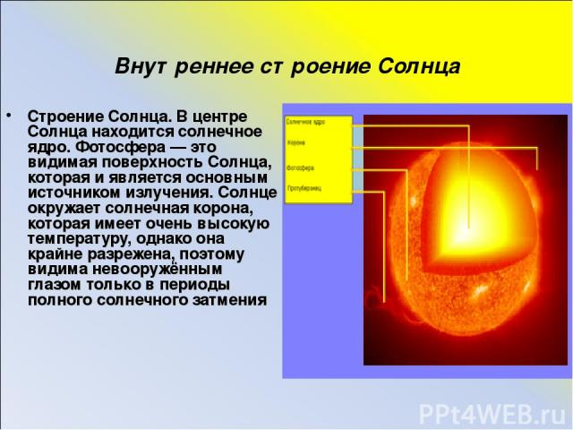 Внутреннее строение Солнца Строение Солнца. В центре Солнца находится солнечное ядро. Фотосфера — это видимая поверхность Солнца, которая и является основным источником излучения. Солнце окружает солнечная корона, которая имеет очень высокую темпера…
