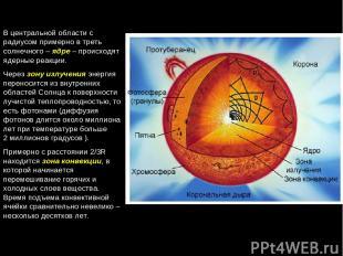В центральной области с радиусом примерно в треть солнечного – ядре – происходят