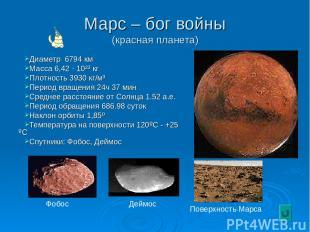 Марс – бог войны (красная планета) Диаметр 6794 км Масса 6,42 · 10²³ кг Плотност