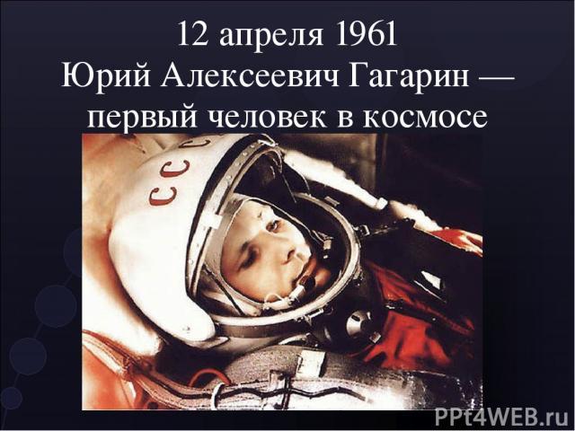 12 апреля 1961 Юрий Алексеевич Гагарин — первый человек в космосе