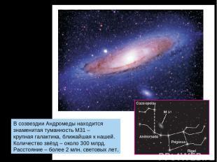 В созвездии Андромеды находится знаменитая туманность М31 – крупная галактика, б