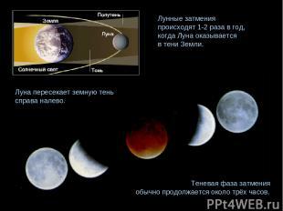 Теневая фаза затмения обычно продолжается около трёх часов. Лунные затмения прои