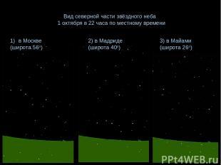 Вид северной части звёздного неба 1 октября в 22 часа по местному времени в Моск
